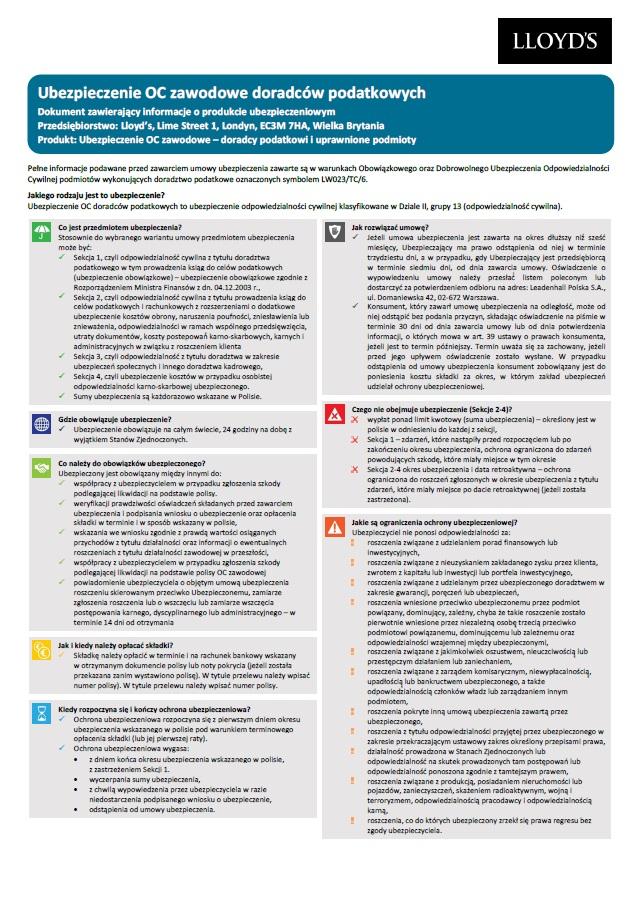 Ubezpieczenia OC doradców podatkowych - karta produktu