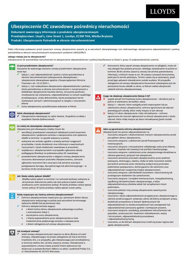 OC Pośredników handlu nieruchomościami karta produktu