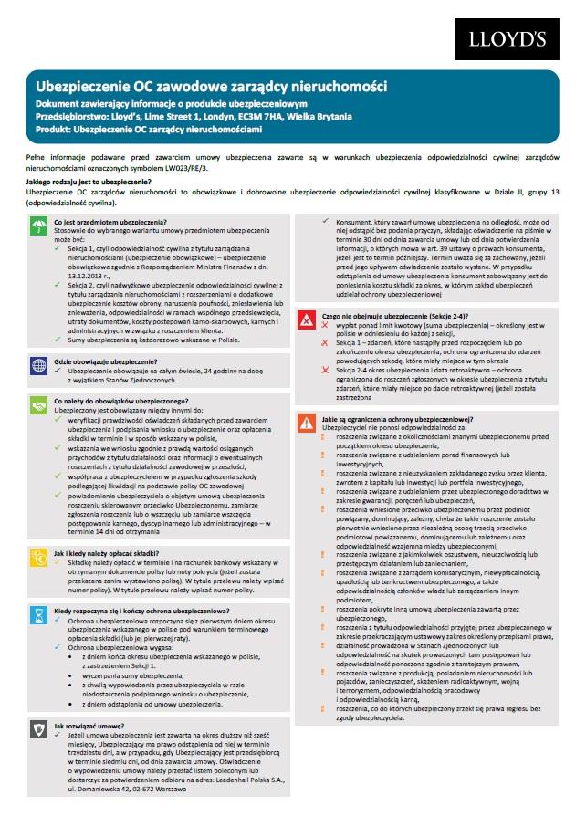 OC Zarządców nieruchomości karta produktu